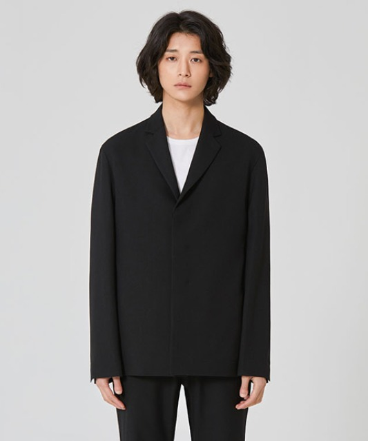 [밈더워드로브] ANDER Wool 3-Button Jacket Black (set-up)