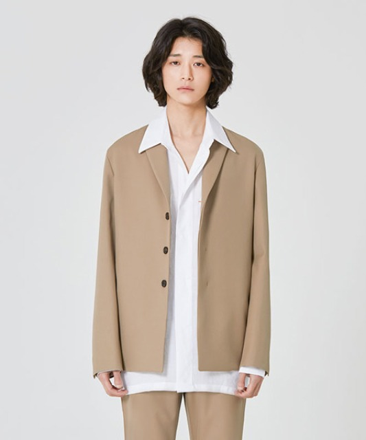 [밈더워드로브] ANDER Wool 3-Button Jacket Beige (set-up)
