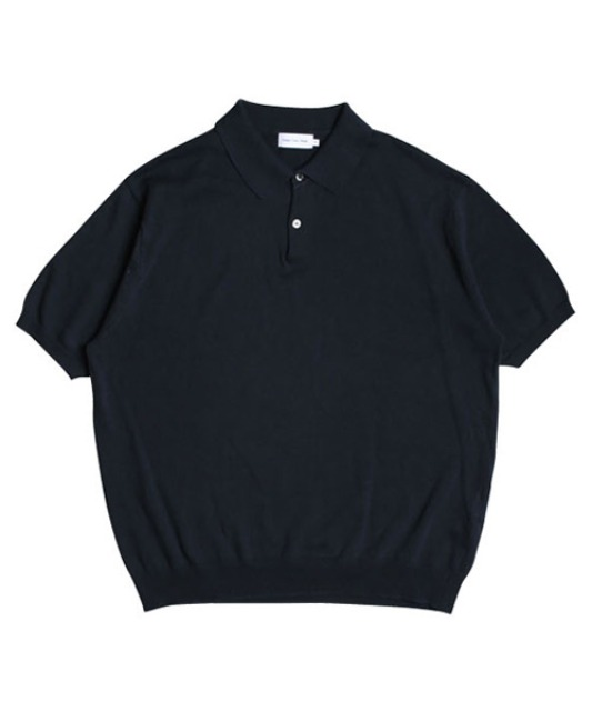 [스테디에브리웨어] Linen Half Sleeved Collar Knit (Navy)