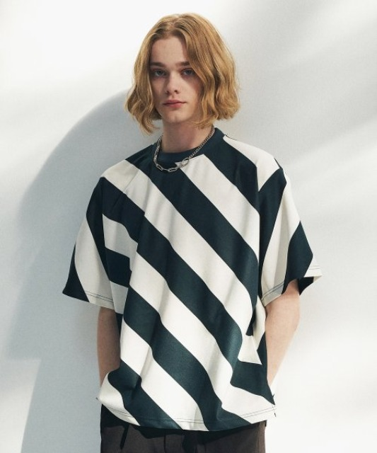 [에드] BOLD STRIPE TEE GREEN