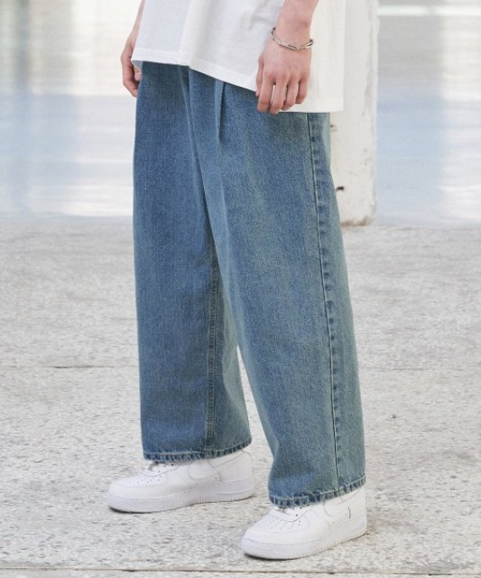 [에드] OVERSIZED PLEATS DENIM BLUE