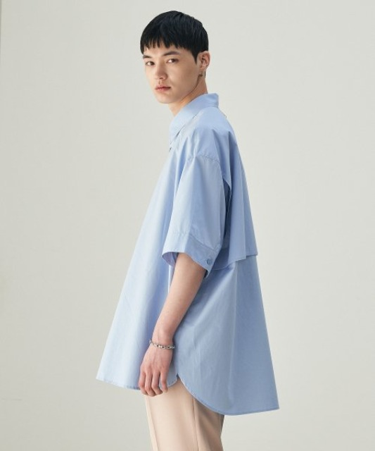 [에드] BACK PLEATS SHIRT POWDER BLUE