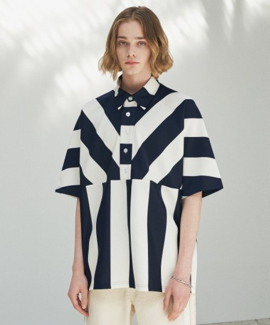 [에드] BOLD STRIPE BOX PATTERN PIQUE TEE NAVY