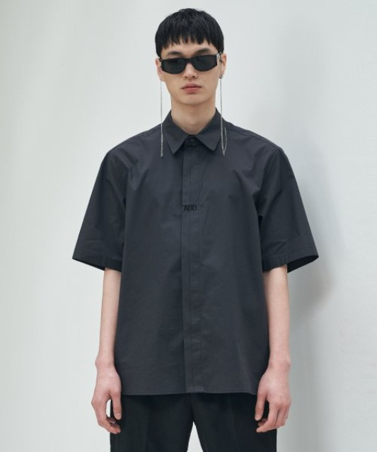 [에드] FOLDED PLACKET SHORT SLEEVE SHIRT CHARCOAL