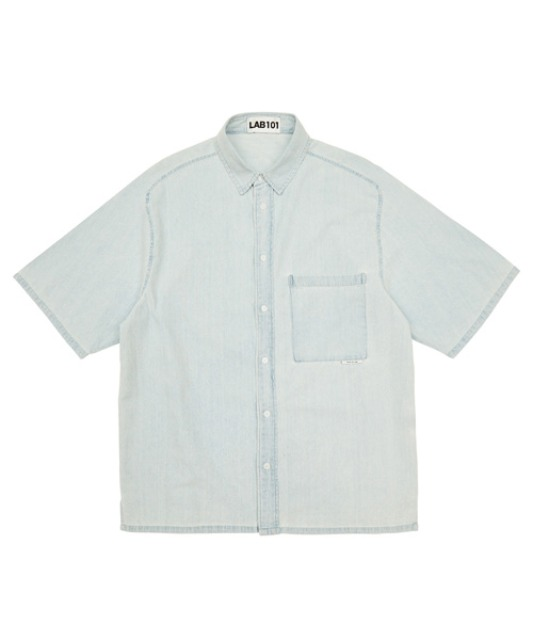 [랩101] SINGLE POCKET ICE BLUE WASH DENIM SHIRT