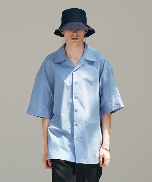 [에드] OPEN COLLAR AVANTGARDE SHIRT LIGHT BLUE