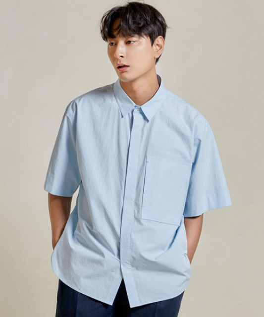 [밈더워드로브] RIVER Pocket Half Shirt_Sky Blue