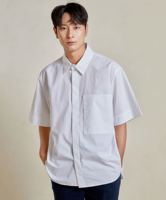 [밈더워드로브] RIVER Pocket Half Shirt_White