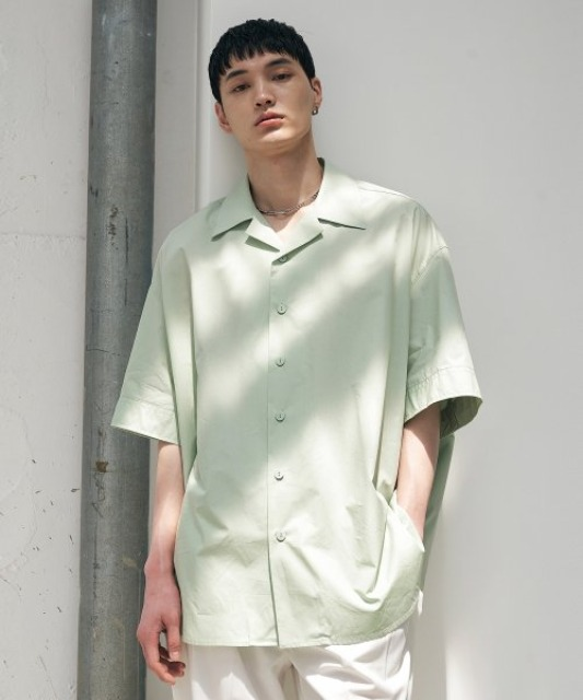 [에드] OPEN COLLAR AVANTGARDE SHIRT LIGHT GREEN