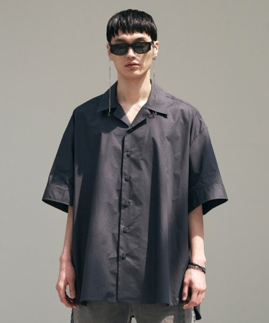 [에드] OPEN COLLAR AVANTGARDE SHIRT CHARCOAL