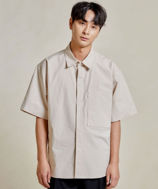 [밈더워드로브] RIVER Pocket Half Shirt_Beige
