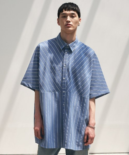 [에드] BOX PATTERN STRIPED SHIRT BLUE
