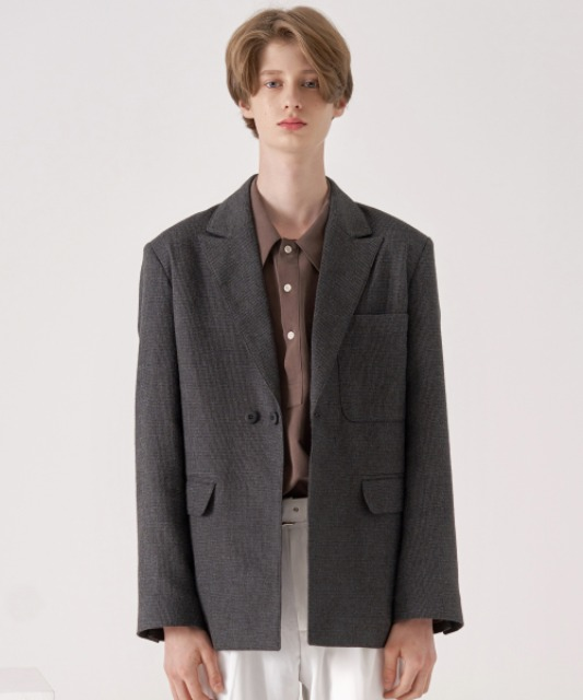 [노운] peaked lapel multi jacket (check/charcoal)