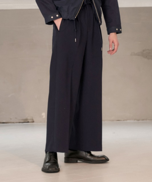 [노운] pleated wide banding pants(navy)