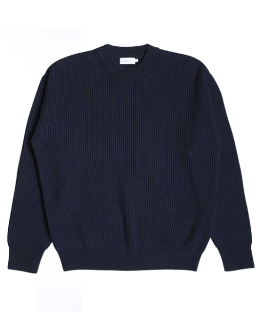 [스테디에브리웨어] Crew Neck Cotton Rib Knit (Dark Navy)
