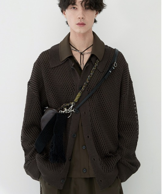 [알렌느] DARKBROWN mesh shirts cardigan(NJ031)