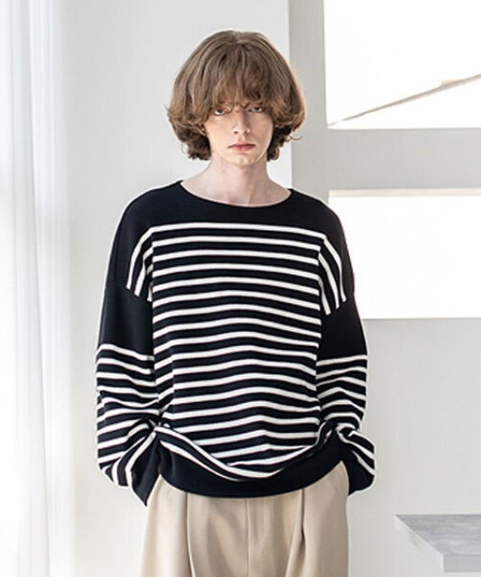 [비긴202] Horizontal line Boat Neck Knit Black x White