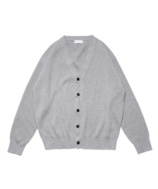 [스테디에브리웨어] Relaxed Cotton Rib Cardigan (Smoke Grey)