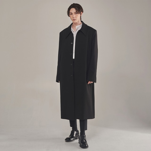 [단하우스] BLACK Oversized Hidden Button Mac Coat