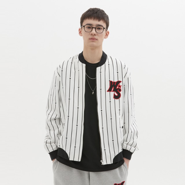 [위캔더스] STRIPED STADIUM JACKET (WHITE)