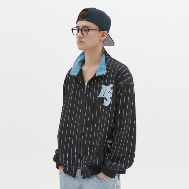 [위캔더스] STRIPED PLAYER JACKET (BLACK)