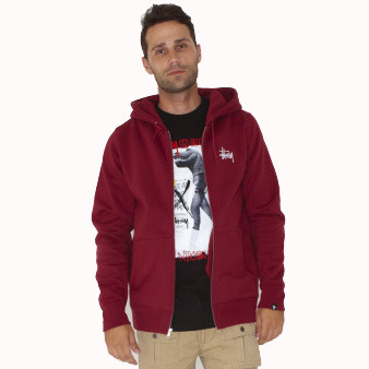 Stock Zip Hoodie Fleece wine
