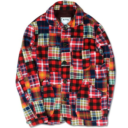 FLANNEL PATCHWORK CHORE JACKET (RED)