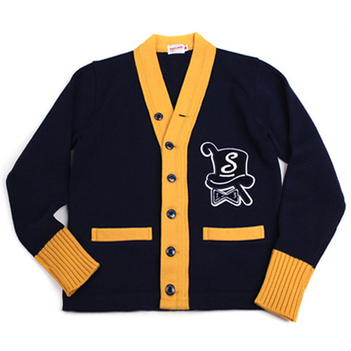Swellmob emblem patched cardigan -yellow-