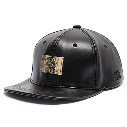 [피스메이커]5STAR PLATE LEATHER SNAPBACK (BLACK)